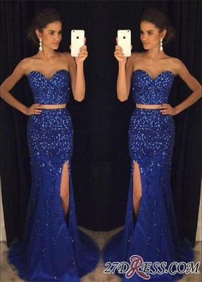 Luxury Beadings Sweetheart Mermaid Two-Pieces Split Prom Dress UK PT124-AP0_3