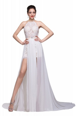 Newest High Neck Gorgeous Prom Dress UK Long beadings Chiffon Evening gown With Lace Appliques CPS231_2