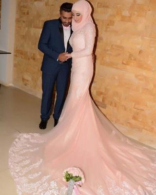 Timeless Pink Lace Appliques Arabic Wedding Dress Court Train Illusion_4