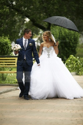 Crystal Tulle Ball Gown Wedding Dresses UK with Sweetheart Sleeveless Sequins Lace-up Court Train Bridal Gowns_7