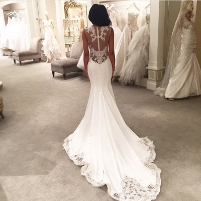 Sexy Mermaid Wedding Dresses UK Sheer Mesh Bridal Gowns with Lace Court Train BA3369_3