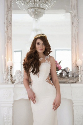 Sexy Mermaid Wedding Dresses UK Sheer Mesh Bridal Gowns with Lace Court Train BA3369_4