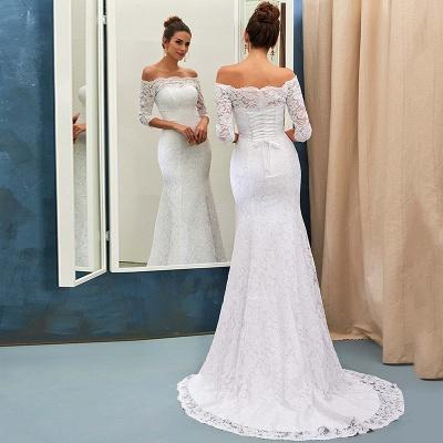 Sheath-Sheath Off-the-shoulder Sweep-train Simple Lace-up Half-sleeves Wedding Dress BA7158_4