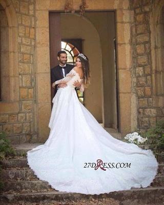 Pretty Long-Sleeve Lace Princess Off-the-Shoulder Wedding Dress_2