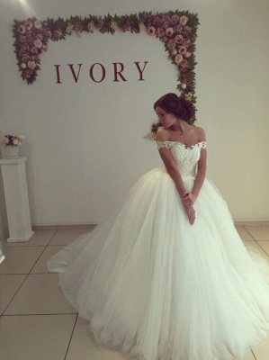 Fashion Off-the-shoulder Lace Wedding Dress Tulle Ball Gown_2