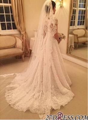 A-line Sweep-Train Short-Sleeve Zipper Newest Lace Wedding Dress BA4575_1