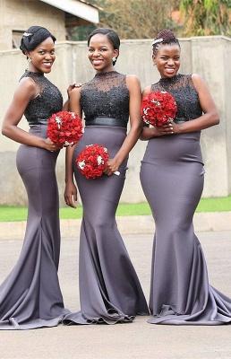 High-Neck Sleeveless Bridesmaid Dress UK | Mermaid Lace Maid Of Honor Dress UK_1