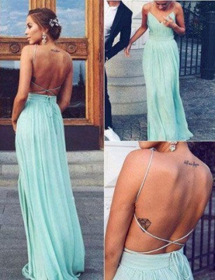 Straps Chiffon Mint Backless Floor-length Elegant Long Evening Dress UKes UK BA3350_2
