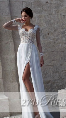 New Arrival Lace Long Sleeves Sweetheart Chiffon Prom Dress UK With Split_1