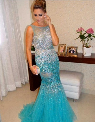 Gorgeous Sleeveless Beadings Crystals Prom Dress UKes UK Mermaid Tulle Party Gowns_1
