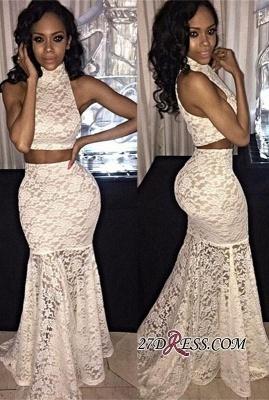 Mermaid Lace Sweep-Train High-Neck Two-Piece Elegant Sleeveless Prom Dress UK BK0 BA7945_2