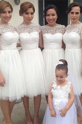 Romantic White Tulle Lace Bridesmaid Dress UK Short Sleeve_2