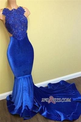 Lace Sleeveless Blue Mermaid Luxury Prom Dress UK FB0014_3