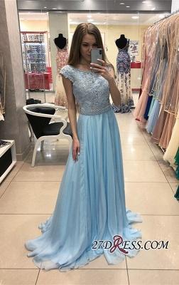 Sexy Cap-Sleeve Blue Prom Dress UK | Chiffon Long Lace Evening Dress UK_2