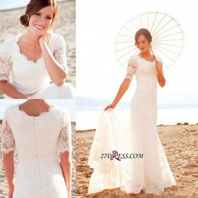 Sweep-Train Short-Sleeves Sheath-Sheath Lace Chic Scoop Neckline-Neck Wedding Dress_2