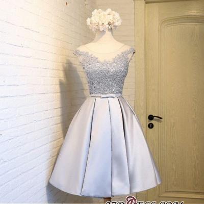 Sliver Dress UKes UK Homecoming Mini Newest A-Line Cap Sleeves Scoop Lace Cocktail Dress UKes UK_6