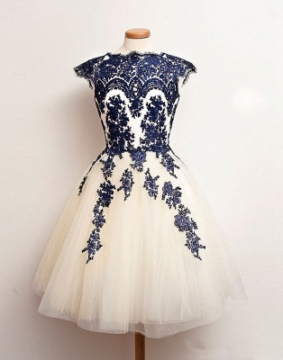 Newest Mini Lace Appliques Homecoming Dress UK Cap Sleeve Jewel_1