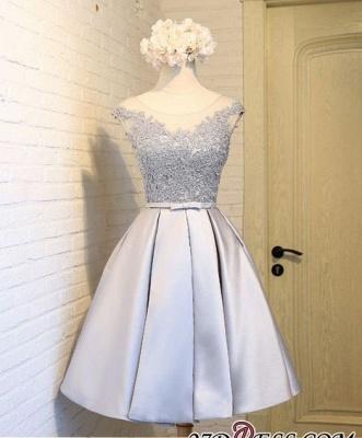 Sliver Dress UKes UK Homecoming Mini Newest A-Line Cap Sleeves Scoop Lace Cocktail Dress UKes UK_1