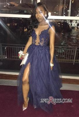 lace tulle prom Dress UK,evening Dress UK with slit BK0 BA8017_2