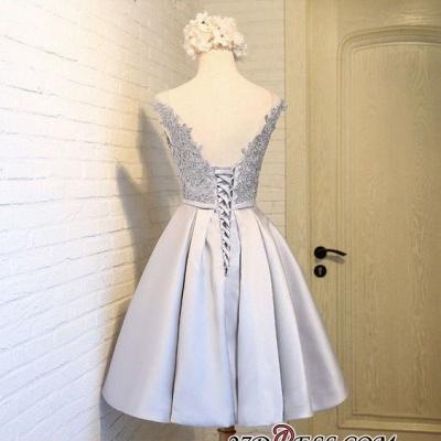 Sliver Dress UKes UK Homecoming Mini Newest A-Line Cap Sleeves Scoop Lace Cocktail Dress UKes UK_5