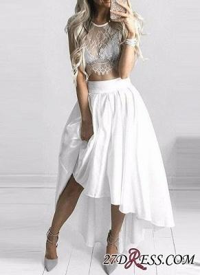 Hi-Lo White Capped-Sleeves Lace Elegant Two-Piece Prom Dress UKes UK_2