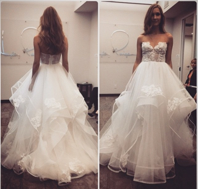 Delicate A-line Sweetheart Lace Tulle Cheap Wedding Dress_3