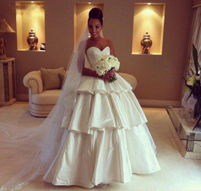 Gorgeous Sweetheart Layered Wedding Dresses UK Ball Gown Floor Length Bridal Gown_3