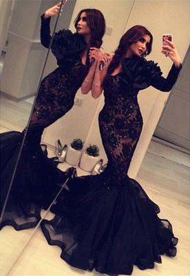 Elegant Black Long Sleeve Mermaid Prom Dress UK Lace Appliques Beadings BA2189_1