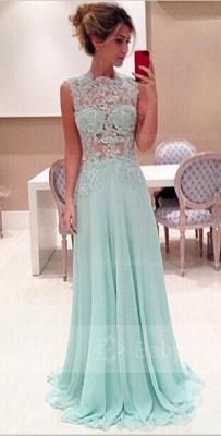 Sexy Sleeveless High-Neck Long Chiffon Prom Dress UKes UK With Appliques_1