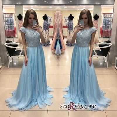 Sexy Cap-Sleeve Blue Prom Dress UK | Chiffon Long Lace Evening Dress UK_1