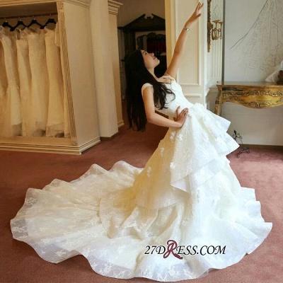 Off-the-Shoulder Floor-Length Elegant Ruffles Lace Princess Wedding Dress_2