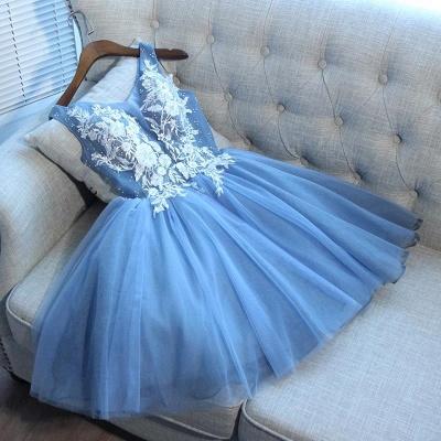 Sexy Blue Short Homecoming Dress UKes UK | V-Neck Lace-Up Cocktail Dress UKes UK_3