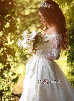 Pretty Long-Sleeve Lace Princess Off-the-Shoulder Wedding Dress_5