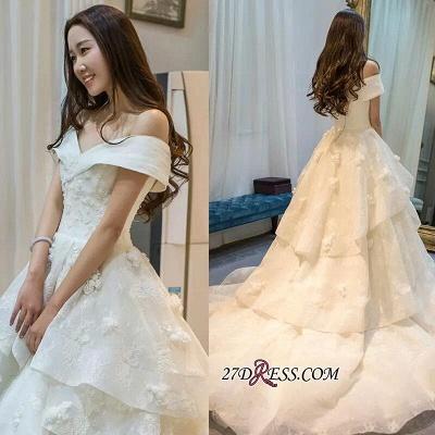 Off-the-Shoulder Floor-Length Elegant Ruffles Lace Princess Wedding Dress_1