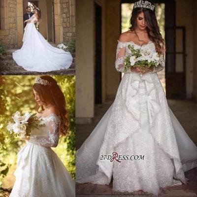 Pretty Long-Sleeve Lace Princess Off-the-Shoulder Wedding Dress_3