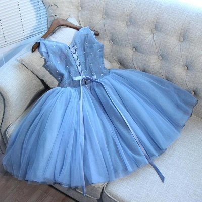 Sexy Blue Short Homecoming Dress UKes UK | V-Neck Lace-Up Cocktail Dress UKes UK_4