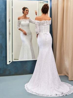 Sheath-Sheath Off-the-shoulder Sweep-train Simple Lace-up Half-sleeves Wedding Dress BA7158_3