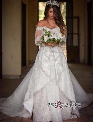 Pretty Long-Sleeve Lace Princess Off-the-Shoulder Wedding Dress_4
