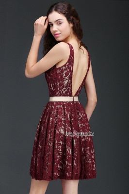 Lace Short V-Neck Sleeveless Burgundy A-Line Homecoming Dress UKes UK_2