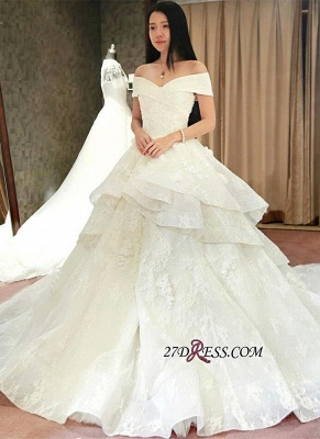 Off-the-Shoulder Floor-Length Elegant Ruffles Lace Princess Wedding Dress_4