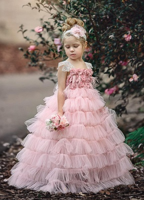 Pink Layers Tulle Flower Girl Dress | 2019 Lace Princess Girls Pageant Dress BA9852