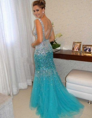 Gorgeous Sleeveless Beadings Crystals Prom Dress UKes UK Mermaid Tulle Party Gowns_3