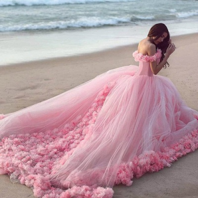 Fairy Pink Off-the-Shoulder Wedding Dress Tulle Ball Gown With Train LP047_4