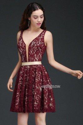 Lace Short V-Neck Sleeveless Burgundy A-Line Homecoming Dress UKes UK_4