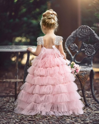Pink Layers Tulle Flower Girl Dress | 2019 Lace Princess Girls Pageant Dress BA9852_3
