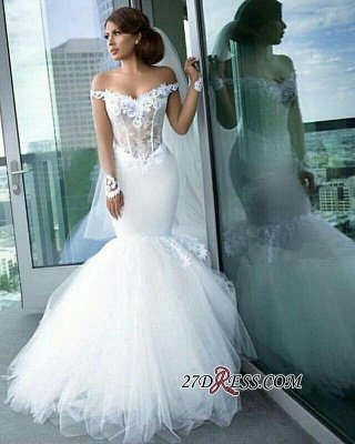 Tulle Long-Sleeves Off-the-Shoulder Appliques Sexy Mermaid Elegant Wedding Dress qq0158_4