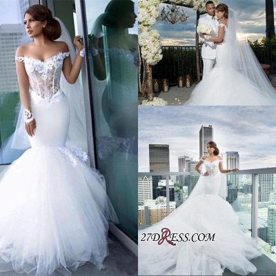 Tulle Long-Sleeves Off-the-Shoulder Appliques Sexy Mermaid Elegant Wedding Dress qq0158_1