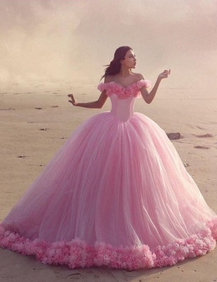Fairy Pink Off-the-Shoulder Wedding Dress Tulle Ball Gown With Train LP047_2
