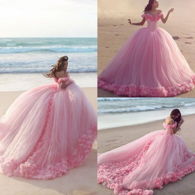 Fairy Pink Off-the-Shoulder Wedding Dress Tulle Ball Gown With Train LP047_5