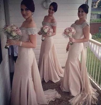 Elegant Off-the-shoulder Mermaid Bridesmaid Dress UK Beadings Sweep Train_3